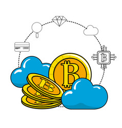 Cloud data and bitcoin with icons around vector