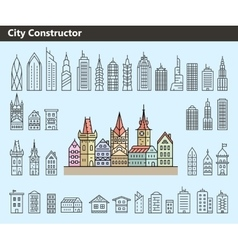 Collection of building icons vector