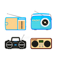 colorful cartoon radio elements set vector image