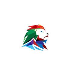 colorful creative lion head logo vector image