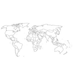 Contour world map black and white colors vector