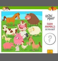 Count the farm animals activity game vector