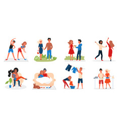 Couple people spend time together set lovers vector
