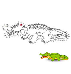 Crocodile Connect the dots and color vector image