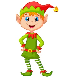 Cute and happy looking christmas elf cartoon vector