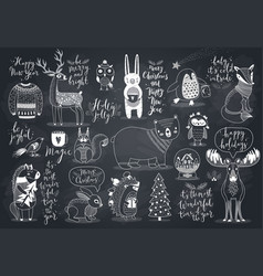 Cute forest animals set - chalkboard style vector