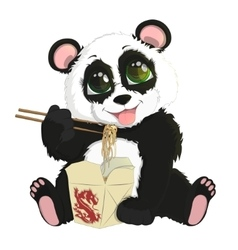 Cute funny baby panda eating Chinese noodles vector image