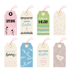 Cute hand drawn easter set of gift tags and labels vector