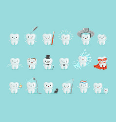 Cute teeth with different emotions set for label vector