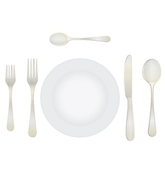Cutlery and crockery on the table vector