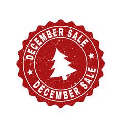 December sale grunge stamp seal with fir-tree vector