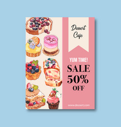 Dessert poster design with berry blueberry bread vector