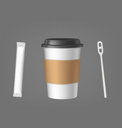 disposable coffee cup with stick and sugar set vector image