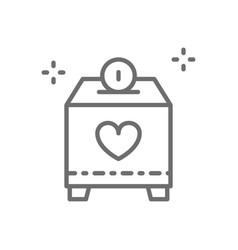 Donate box with money charity volunteering line vector