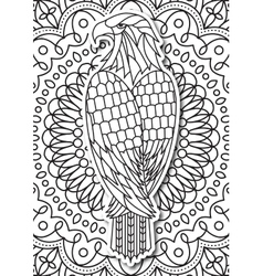 eagle - coloring page for adults in ethnic style vector image