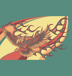 Eagle with flames vector