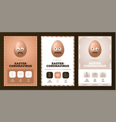 Easter coronavirus all in one icon poster set vector