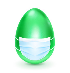 Easter egg with medical mask vector