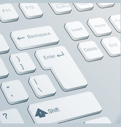 Enter button realistic keyboard 3d design vector