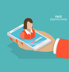 Facial recognition flat isometric vector