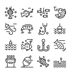 fish bait icons set outline style vector image
