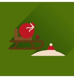 Flat icon with long shadow Santas sleigh vector image