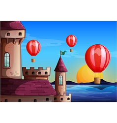 Floating balloons near the castle vector image