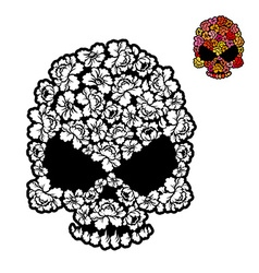 Flower skull coloring book mexican Head skeleton vector image
