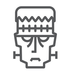 frankenstein line icon halloween and monster vector image