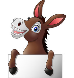 funny donkey with blank sign vector image