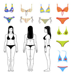 Girl and swimsuits outlined set vector