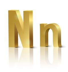 Golden letter N vector