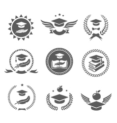 Graduation cap labels set College study diploma vector