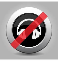 Gray chrome button - no headphones vector