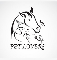 group pets - horse dog cat bird butterfly vector image