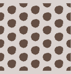 hand drawn polka dot background with round brush vector image