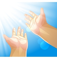 Hands outstretched to the sun vector image vector image