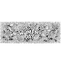 Happy womens day hand drawn cartoon doodles vector