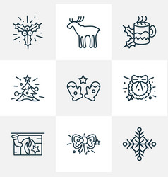 holiday icons line style set with santa gloves vector image