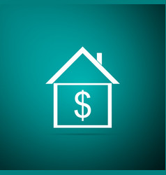 house with dollar icon on green background vector image