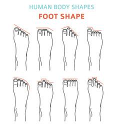 Human body shapesfeet types icon set vector