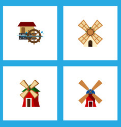 icon flat alternative set of power watermill vector image