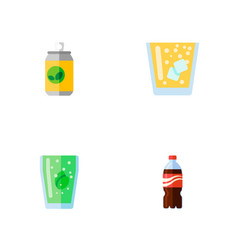 Icon flat soda set of fizzy drink juice lemonade vector