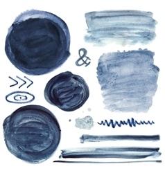 Inkwatercolor element setSteinbrushHand vector image