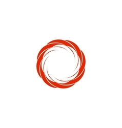 Isolated abstract red color circular sun logo vector image