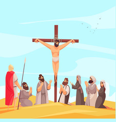 jesus crucifix narrative composition vector image