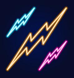 lightning bolt set neon signs design template vector image
