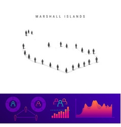 Marshall islands people map detailed silhouette vector