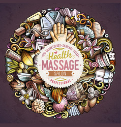 Massage hand drawn doodles round vector