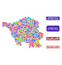 Mosaic map of saarland state and distress stamps vector